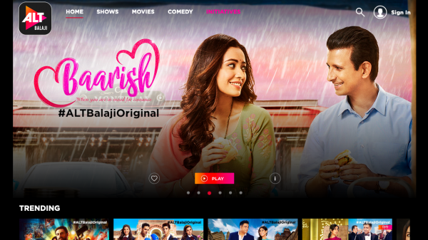 Screenshot of AltBalaji website