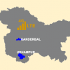 Kashmir map with Ganderbal and Udhampur highlighted
