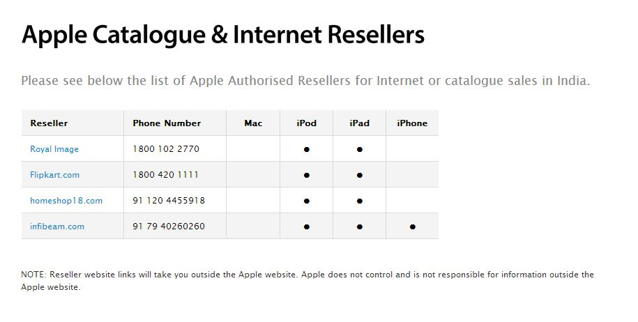 Apple India Online Resellers