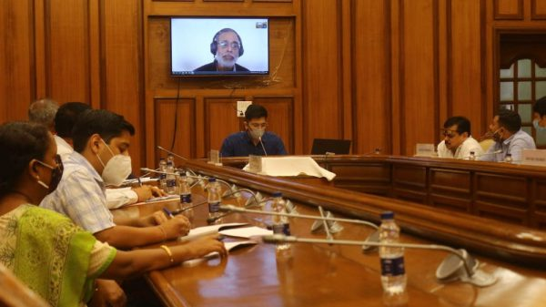 Photo of Delhi Peace and Harmony committee's hearing with Prabir Purkayasta
