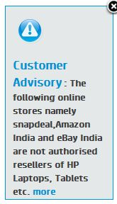 HP India customer advisory
