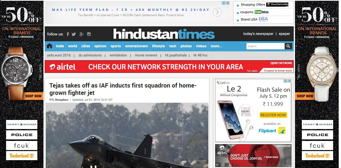 HT with ads