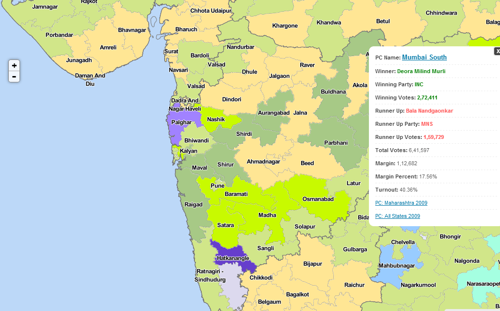 IndiaVotes PC Map of All States 2009