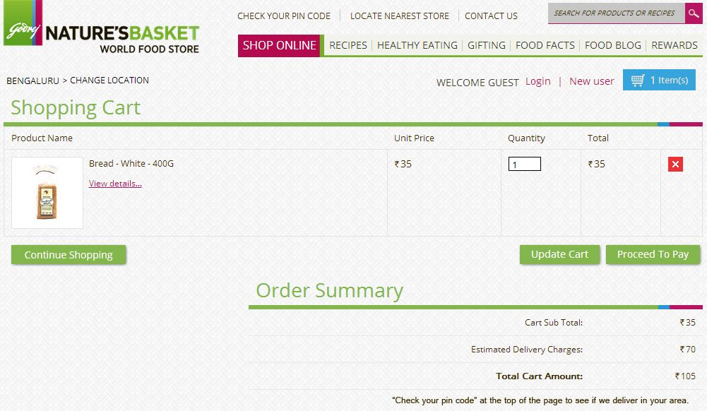 Nature's Basket Online Shopping