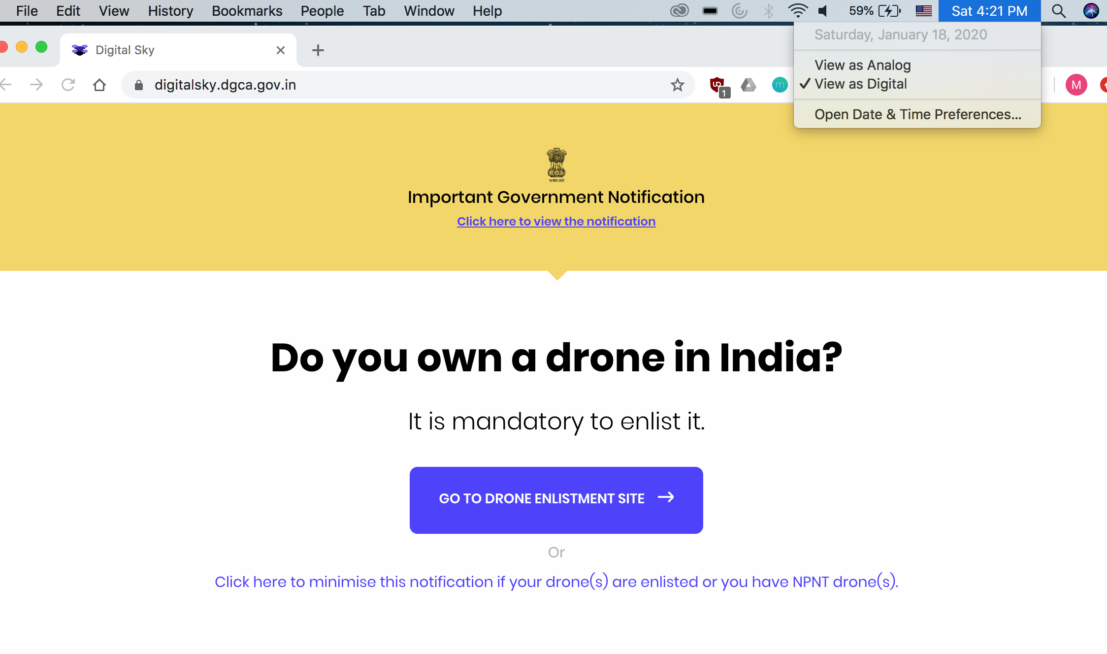 Screenshot of drone registration page