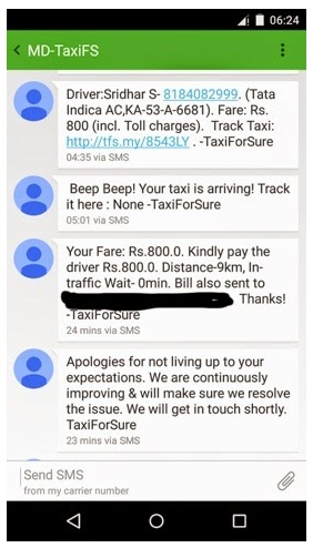 TaxiForSure SMS