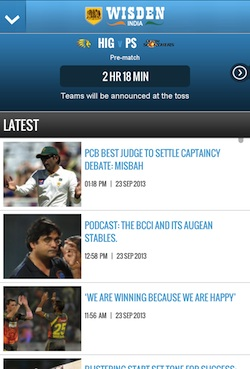 Wisden India Homescreen