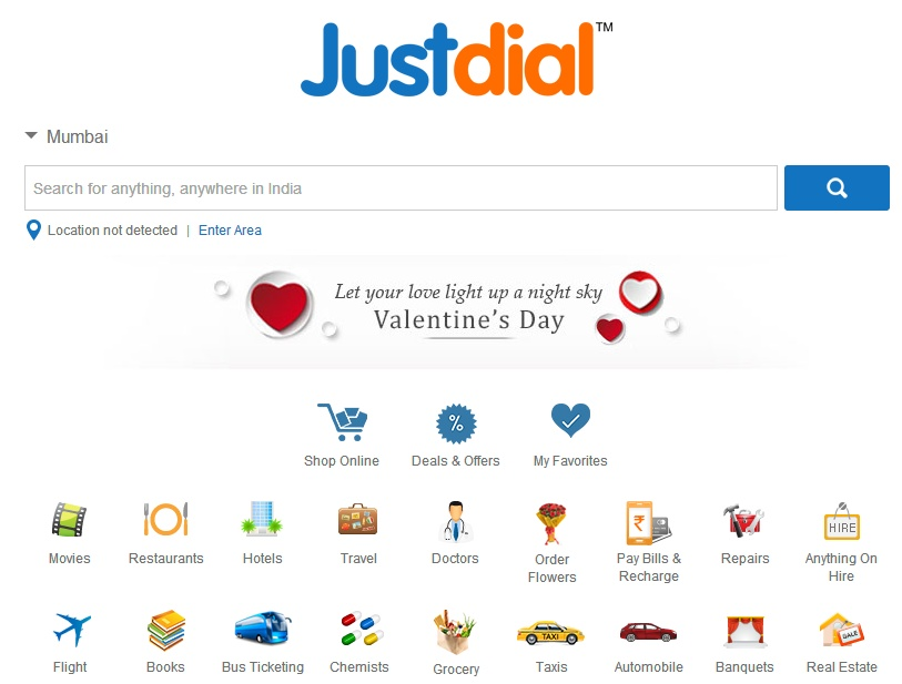 justdial-homepage