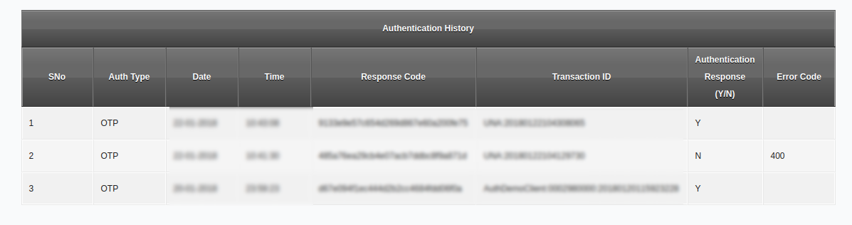 Sample authentication log with demographic authentication information removed