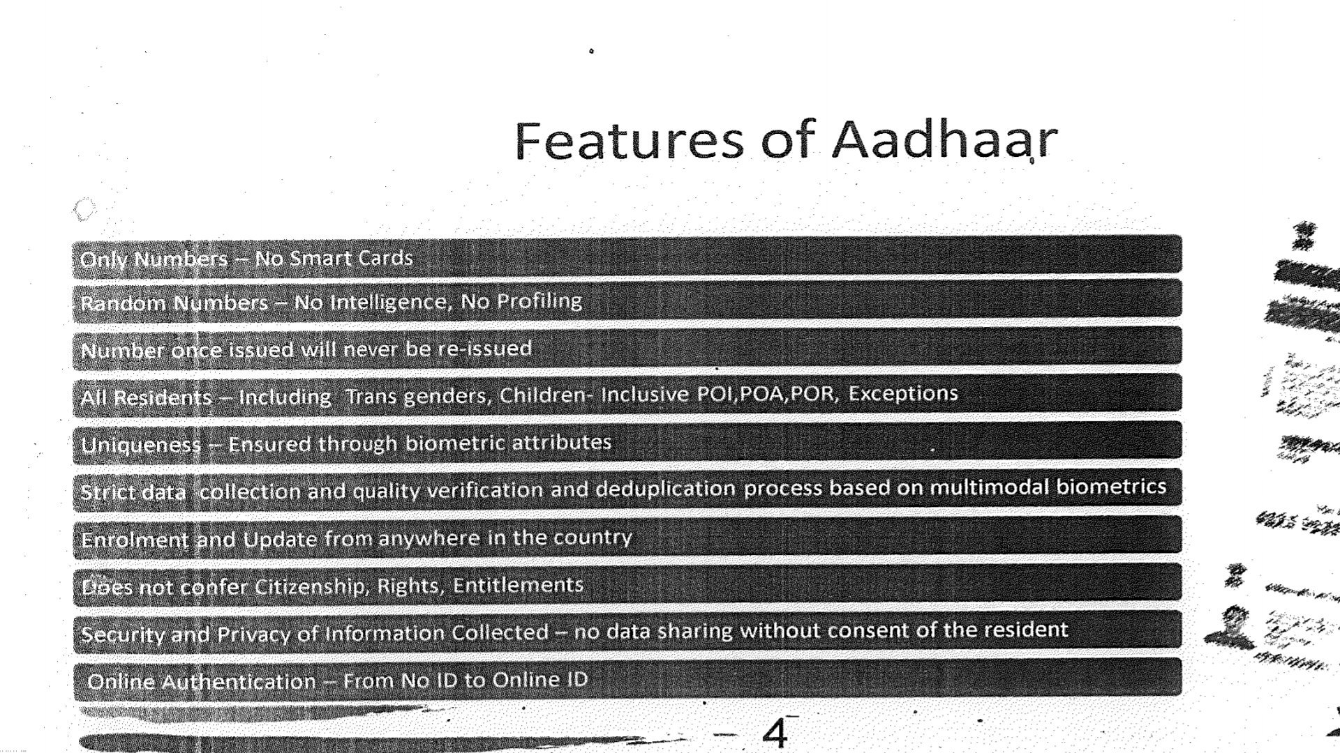 features of aadhaar slide